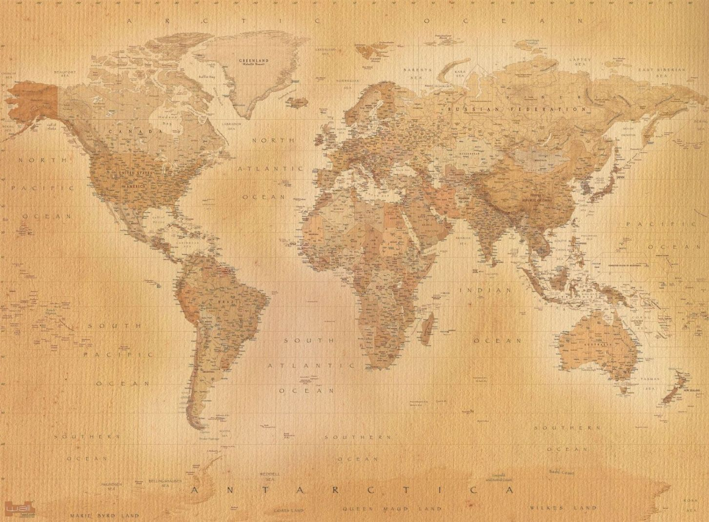 Old style vintage world map wallpaper wall mural 232m x 315m new shop categories gumiabroncs Image collections